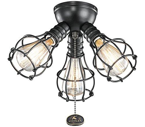 Kichler 370041SBK Industrial Ceiling Fan Light Kit in Satin Black, 3-Light ()
