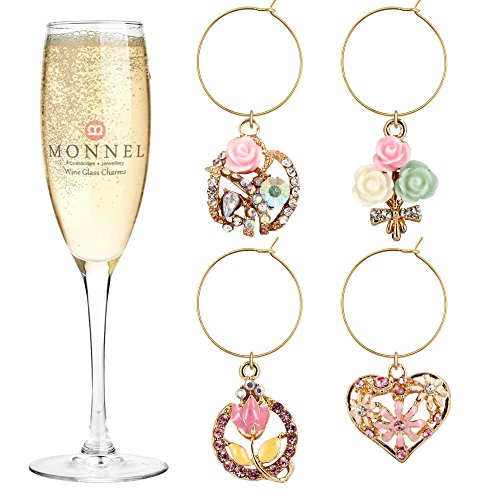 P409 Cute Pink Crystal Heart Flowers Wine Charms Glass Marker for Party with Velvet Bag- Set of 4 ()