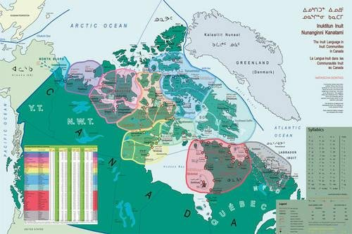 Map of the Inuit Language in Inuit Communities in Canada by University of Alaska Press