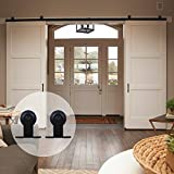 CCJH American Country T-shaped Style Steel Sliding Barn Door Hardware Interior for Double Door Black (10.5FT)