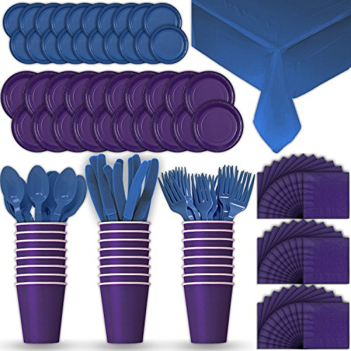 Paper Tableware Set for 24 - Purple & Blue - Dinner and Dessert Plates, Cups, Napkins, Cutlery (Spoons, Forks, Knives), and Tablecloths - Full Two-Tone Party Supplies (Cobalt Blue Luncheon Plate)