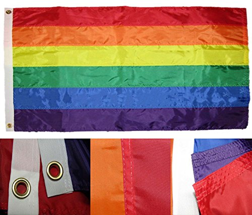 Rainbow Gay Pride LGBTQ - (3 by 5 Foot 3x5 Ft) Strongest Embroidered Single Sided 210D Nylon, Double Sewn Stripes and Brass Grommets, UV Protected, Double Decker U.S. Flags