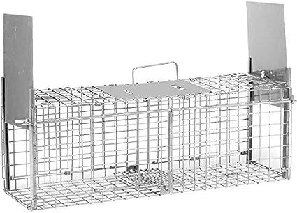 Bird-Tech TM Jaula ATRAPAR Gatos, Ratas, Conejos Vivos Doble Puerta (62X20X20CM) Plegable
