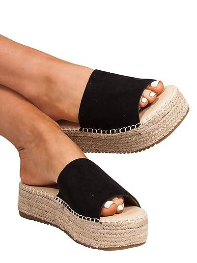 f36a2784e398f Nailyhome Womens Espadrille Platform Slides Open Toe Slip On Flats Beach  Sandals