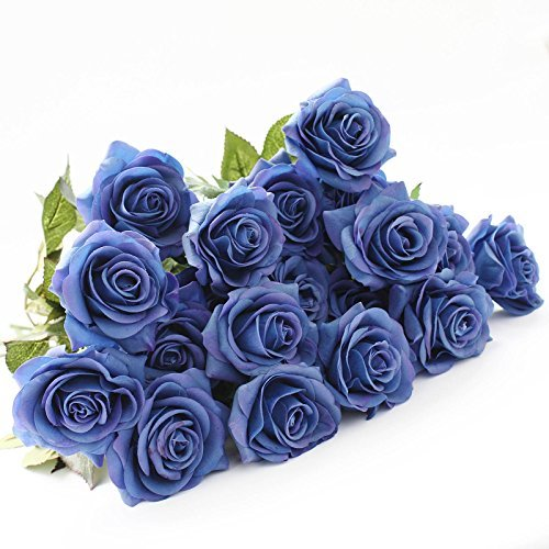 Lovemat 12 PCS Real Touch Latex PU Roses Artificial Flowers for Wedding Home Decor (blue)