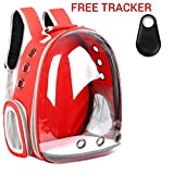 UDore Pet Carrier Backpack with Free Bluetooth Collar Tracker - Space Capsule Transparent Airline Approved(Red)