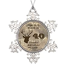 Littler Tree Branch Decoration Hunting Old Buck Antler Camo Birthday Party Funny Snowflake Ornaments