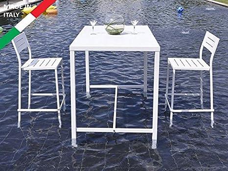 Tavolino Alto Da Bar Con Sgabelli.Set Tavolo Alto Bar 120x80 Con 4 Sgabelli Metallo Bianco Da