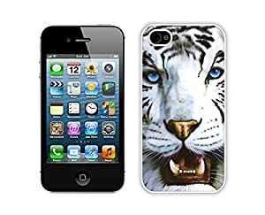 Romantic White Tiger and Blue Eyes Iphone 4 Case 4s White Cover Personalized Cell Phone Accessories