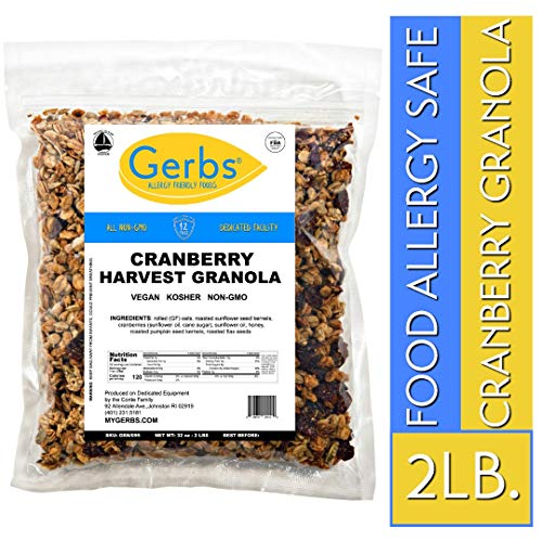 Gerbs Cranberry Harvest Granola, 2 LBS - Top 14 Food Allergy Free & NON GMO - Unsulfured & Preservative Free - Made in Rhode - Fat Cereal Low Granola