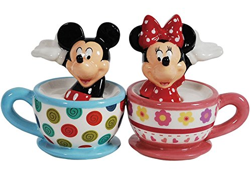 Westland Giftware Magnetic Ceramic Salt and Pepper Shaker Set, Mickey and Minnie Teacups, Multicolor ()
