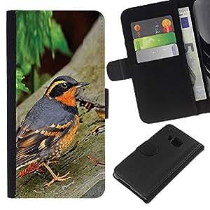 KingStore / Leather Etui en cuir / HTC One M7 / Oiseau Été Arbres orange
