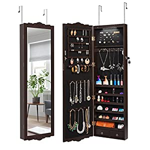 LANGRIA Jewelry Cabinet Armoire Mirrored Jewlery Holder Organizer Storage