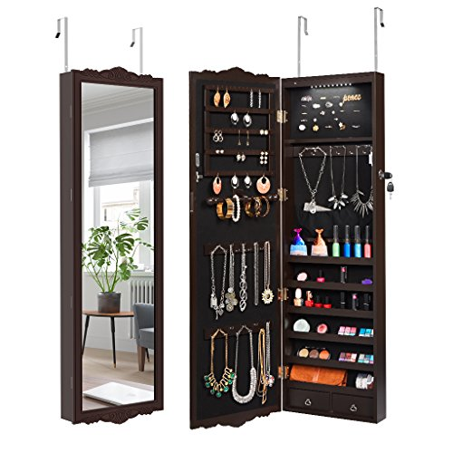 LANGRIA Full-Length Lockable Wall-Mounted Over-the-Door Hanging Jewelry Cabinet Armoire with LED Lights 3 Adjustable Heights Classy Accessories Organizer with 2 Drawers and Carved Design (Brown) (Hanging Wall Door)