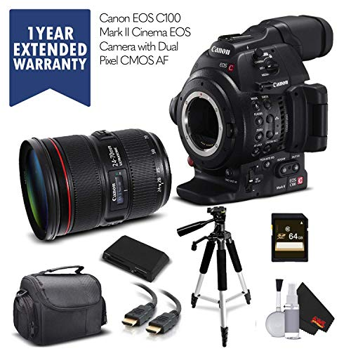 Canon EOS C100 Mark II with Dual Pixel CMOS AF 0202C002 & 24-70mm f/2.8L II USM Lens with Memory Card, Case, Tripod, and Extended Warranty - Starter Bundle - (International Model)