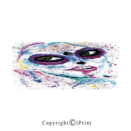 Girls Large Premium Quick Dry Cotton & Microfiber Bath Towel,Grunge Halloween Lady with Sugar Skull Make Up Creepy Dead Face Gothic Woman Artsy,for Travel Sports & Beach,W70.8 x L31.4 Blue Purple