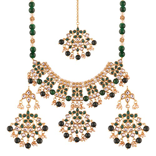 I Jewels Gold Plated Traditional Kundan Necklace Set with Earrings & Maang Tikka for Women (K7062G)