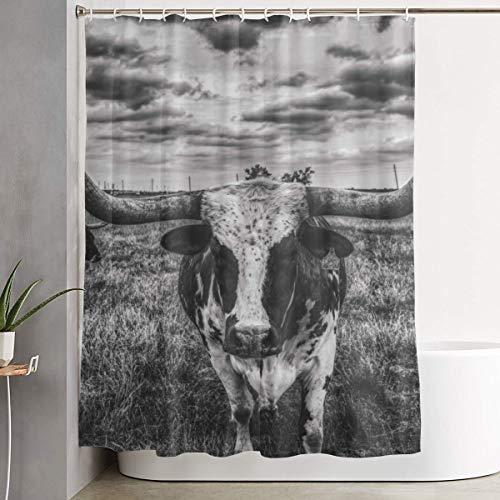 Bathroom Shower Curtain Texas Longhorn Steer Bull Cow Landscape Fabric Bathroom Curtain Durable Waterproof Bath Curtain Sets with Hooks 60