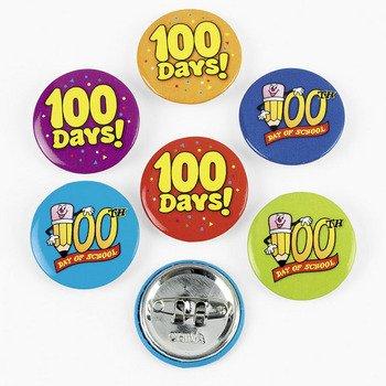 48 100th Day of School Mini Buttons - Assortments & Jewelry & Tattoo Assortments