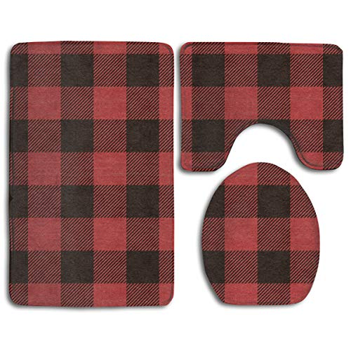 CCBUTBA Bathroom Rug Mats Set 3 Piece Red Buffalo Plaid Warm Wishes Christmas Envelope Extra Soft Bath Rugs (20