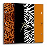 zebra print wall pics - 3dRose dpp_35442_3 Orange Black and White Animal Print-Leopard and Zebra-Wall Clock, 15 by 15-Inch