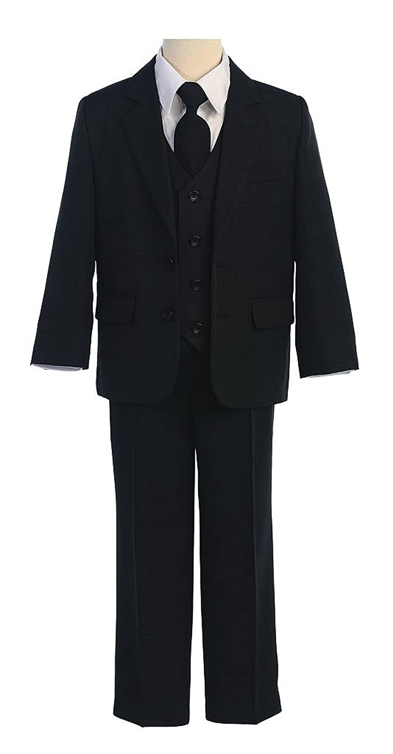 aa65b526232 2-Button Suit Jacket with Single Back Vent and Flat Front Pant with  4-Button Vest Matching Suit Color Zipper Tie. White Button Down Boys Dress  ...
