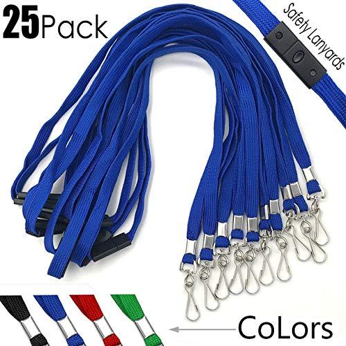 Safety Lanyards Premium Breakaway Blue Lanyard Comfortable Neck Straps Lanyards Swivel J Hook for ID Badges 25 Pack