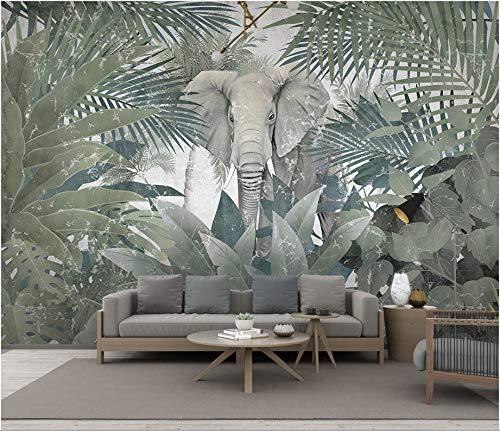 Elephant Wood Mural (140X70CM, 3D Wallpaper Mural, Nordic Tropical Plants, Animals, Elephant Landscapes Luxury Background Illustration Removable and Waterproof, Super Large Size)