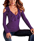 Akery Womens Sexy Flouncing Off Shoulder Long Sleeve Blouses T-shirt Tops
