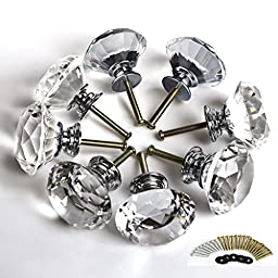 Dlisten 8PCS Diamond Shape Crystal 40mm Glass Cupboard Drawer Pull Handle Cabinet Drawer Knob