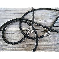 Unisex Mens Matte Black Cross Eyeglass Chain Handmade