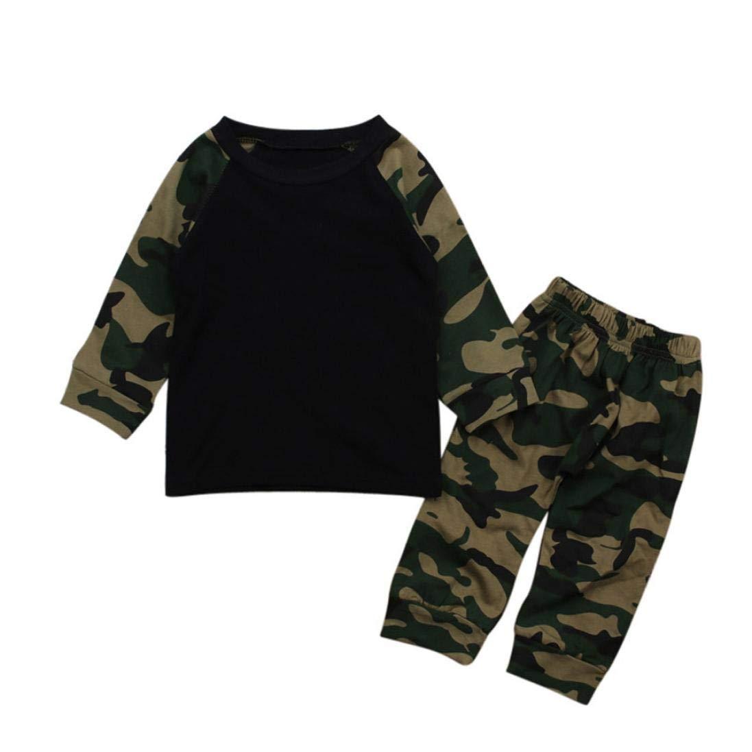 Matoen Newborn Infant Baby Boy Camouflage Long Sleeve Tops Pants Outfits 2pcs