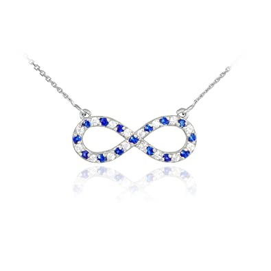infinity necklace white gold. 14k white gold diamond and sapphire infinity necklace (16 inches) e