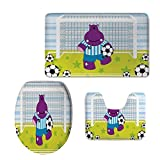 3 Piece Extended Bath mat Set,Sports Decor,Cute Hippopotamus Soccer Goal Keeper Football Cartoon Print,Apple Green Baby Blue Purple,Elongated Toilet Lid Cover Set