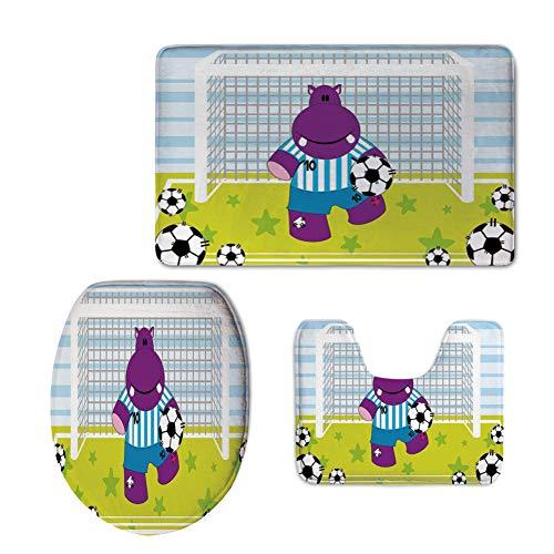 3 Piece Extended Bath mat Set,Sports Decor,Cute Hippopotamus Soccer Goal Keeper Football Cartoon Print,Apple Green Baby Blue Purple,Elongated Toilet Lid Cover Set by iPrint