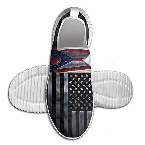 Oeuf Oeuf Usa Ohio Drapeau Femmes Mocassins Hommes Chaussures De Course Respirant Maille En Plein Air Sport Chaussures De Marche Blanc