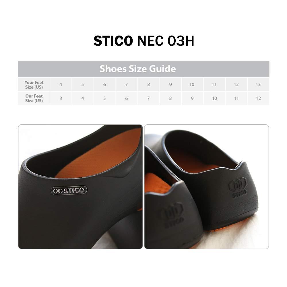 STICO Men's Slip Resistant Chef Clogs, Professional Non-Slip Work Shoes with Air Vents for Restaurant Hospital Nursing Garden [Black/US Men 7]