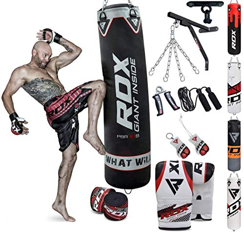 RDX Punch Bag for Boxing Training | Filled Heavy Bag Set with Punching Gloves, Chain, Wall Bracket | Great for Grappling, MMA, Kickboxing, Muay Thai, Karate, BJJ & Taekwondo | 14 pcs Comes in 4FT/5FT (Best Boxing Equipment For Home)