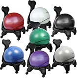 "Isokinetics Inc. Brand Balance Exercise Ball Chair - Choice of Ball Color - Exclusive: Office size 60mm/2.5"" wheels (versus 50mm/2"" wheels used on other brands) - w/Ball Measuring Tape & Starter Pump - Adult Size"