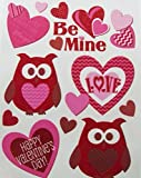 Valentine Reusable Glitter Window Clings ~ Owls of Love, Fun Patterned Hearts (12 Clings, 1 Sheet)