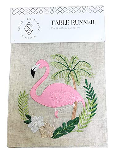 Secret Celebrity Whimsy Tropical Flamingo Embroidered & Embellished Novelty Dining Accent Table Runner 13 x 72 (Natural)