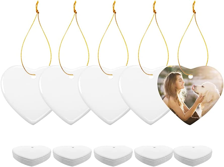 PYD Life 25 PCS Sublimation Blank White Ornament Ceramic 3 Inch Heart Shaped Ornament with Gold String for Christmas Home Customized Decor Bulk