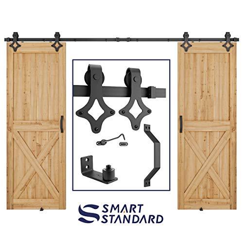 10 FT Heavy Duty Double Gate Sliding Barn Door Hardware Kit, 10ft Double Rail, Black, (Whole Set Includes 2X Pull Handle Set & 2X Floor Guide & 1x Latch Lock) Fit 30