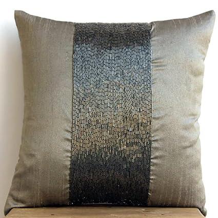 Amazon Silver Grey Throw Pillows Cover Metallic Beaded Sparkly Adorable Sparkly Decorative Pillows