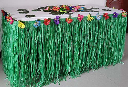 Green Grass Luau table Skirt for birthday party wedding party 9 ft length