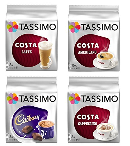 Tassimo Costa Cappuccino//Latte/Americano/Cadbury X 4 Packs Set = 40 Drinks (Hot Drinks Tassimo)