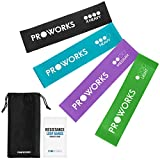 Proworks Resistance Bands   Set of 4 Heavy Duty Fitness Exercise Bands - Includes Workout Booklet - Home and Gym Loop Resistance Bands for Legs and Glutes, Arms, Physio, Pilates, Yoga, and Strength