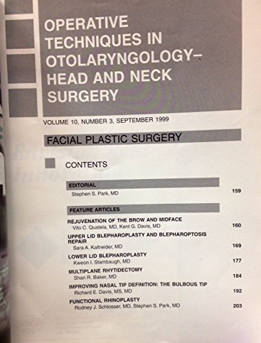 Operative Techniques in Otolaryngology - Head and Neck Surgery, Volume 10, Number 3, September 1999