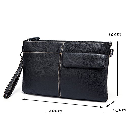 Shouder Black Cowhide Mens Wristlet Leather bag Handbag First Zhhlinyuan with Wallets SXqAZw