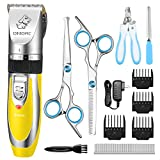 OMORC Professional Dog Clippers, Low Noise Electric Dog Grooming Kit, Rechargeable Cordless Pet Hair Trimmer Cat Grooming Clippers with Stainless Steel Sharp Blades & Guide Comb